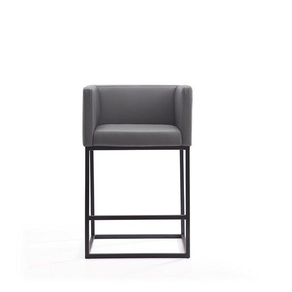 Tabouret de bar rembourré Embassy gris et noir, hauteur de comptoir (22 po à 26 po) par Manhattan Comfort, 2 pièces