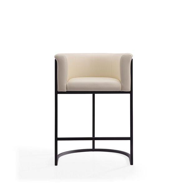 Tabouret de bar rembourré Cosmopolitan crème et noir, hauteur de comptoir (22 po à 26 po) par Manhattan Comfort