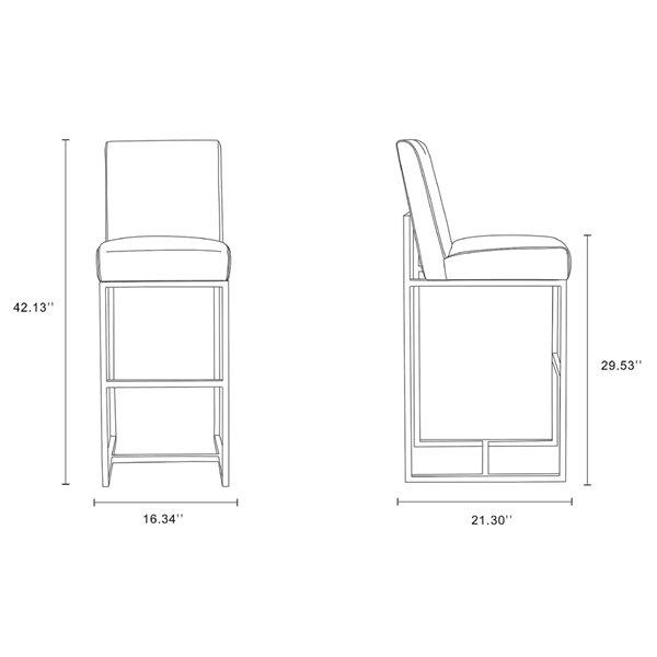 Tabouret de bar rembourré Element graphite et chrome poli à hauteur de bar (27 po à 35 po) par Manhattan Comfort, 2 pièces