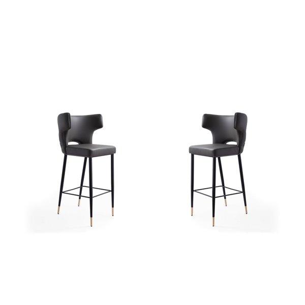 Tabouret de bar rembourré Holguin gris, noir et or à hauteur de bar (27 po à 35 po) par Manhattan Comfort, 2 pièces