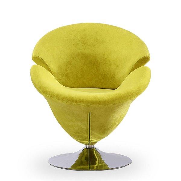 Chaise pivotante Tulip en chrome poli et velours vert de Manhattan Comfort