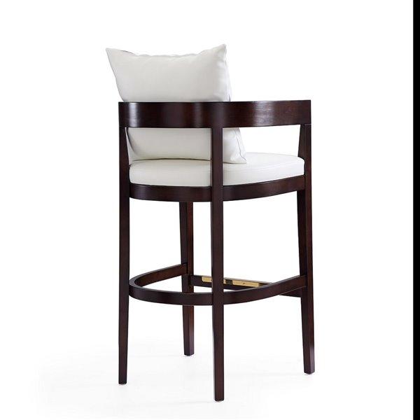 Tabouret de bar rembourré Ritz ivoire et noyer foncé à hauteur de bar (27 po à 35 po) par Manhattan Comfort