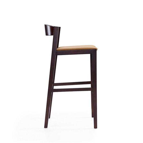 Tabouret de bar rembourré Klismos camel et noyer foncé à hauteur de bar (27 po à 35 po) par Manhattan Comfort, 2 pièces