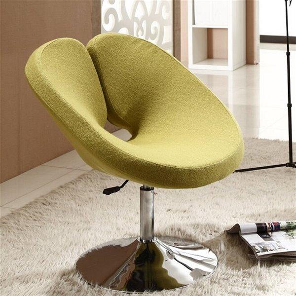 Chaise pivotante moderne Perch en chrome poli et laine verte de Manhattan Comfort