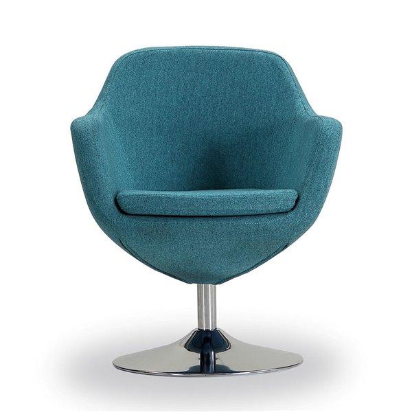 Ensemble de 2 chaises pivotantes moderne en chrome poli Caisson en tissu croisé bleu de Manhattan Comfort