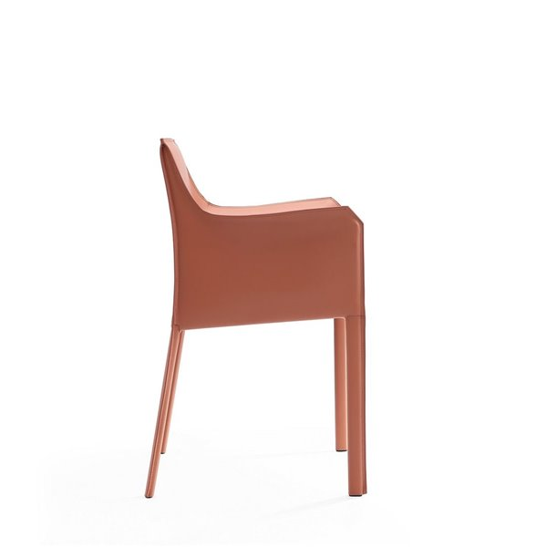 Fauteuil contemporain Paris rembourré en cuir véritable avec cadre en métal par Manhattan Comfort