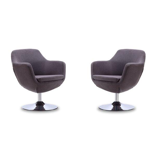 Ensemble de 2 chaises pivotantes moderne en chrome poli Caisson en tissus croisé gris de Manhattan Comfort