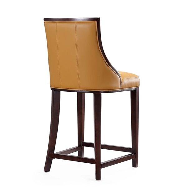 Tabouret de bar rembourré Fifth camel et noyer foncé, hauteur de comptoir (22 po à 26 po) par Manhattan Comfort