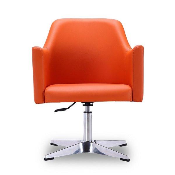 Ensemble de 2 chaises pivotantes moderne en chrome poli Pelo en similicuir orange de Manhattan Comfort