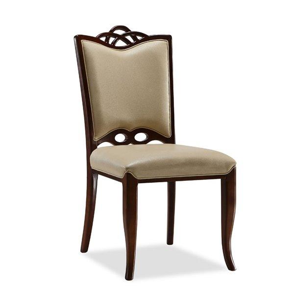 Chaise d'appoint traditionnelle Regent rembourrée en similicuir (cadre en bois) par Manhattan Comfort, ens. de 2