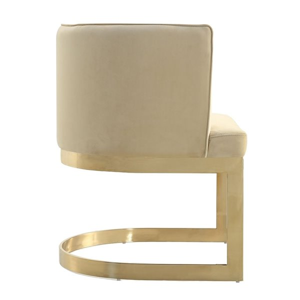 Fauteuil contemporain Aura rembourré en velours (cadre en métal) par Manhattan Comfort, ens. de 2