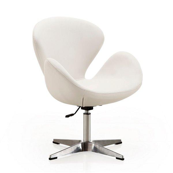 Ensemble de 2 chaises pivotantes Rasberry moderne en similicuir blanc et chrome poli de Manhattan Comfort