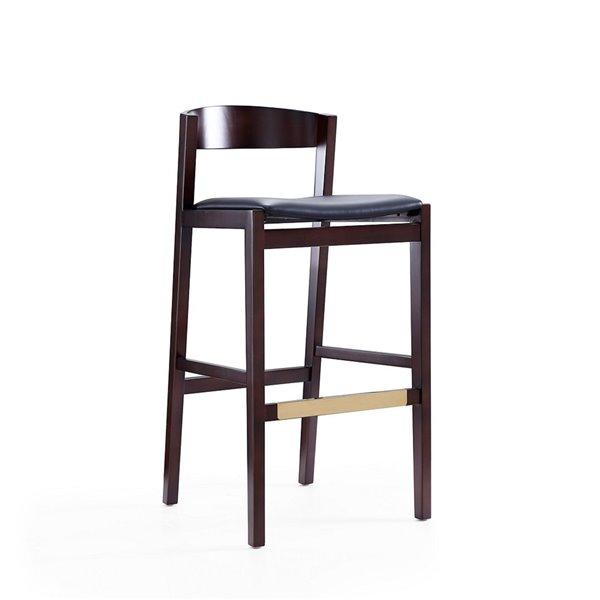 Tabouret de bar rembourré Klismos noir et noyer foncé à hauteur de bar (27 po à 35 po) par Manhattan Comfort