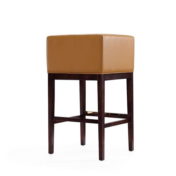 Tabouret de bar rembourré Kingsley camel et noyer foncé à hauteur de bar (27 po à 35 po) par Manhattan Comfort