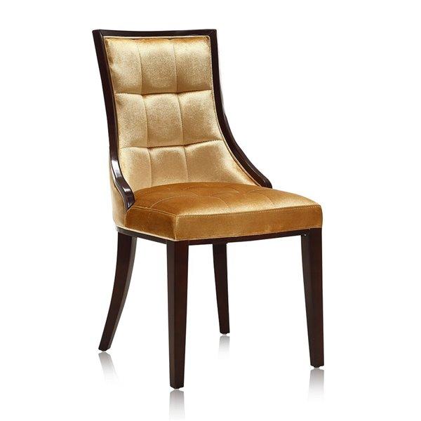 Chaise d'appoint traditionnelle Fifth Avenue rembourrée en velours (cadre en bois) par Manhattan Comfort, ens. de 2