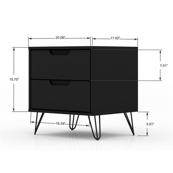 Commodes Rockefeller noire à 7 tiroirs par Manhattan Comfort, ens. de 2