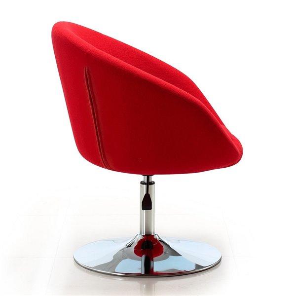 Chaise pivotante moderne Hopper en chrome poli et laine rouge de Manhattan Comfort