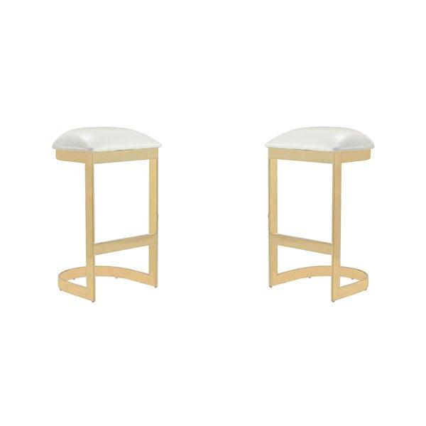 Tabouret de bar rembourré Aura laiton blanc et poli à hauteur de bar (27 po à 35 po) par Manhattan Comfort, 2 pièces