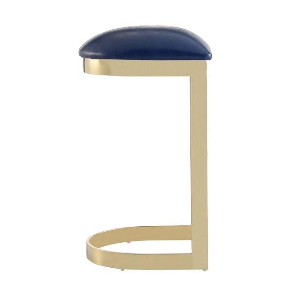 Tabouret de bar rembourré Aura laiton bleu et poli à hauteur de bar (27 po à 35 po) par Manhattan Comfort, 2 pièces