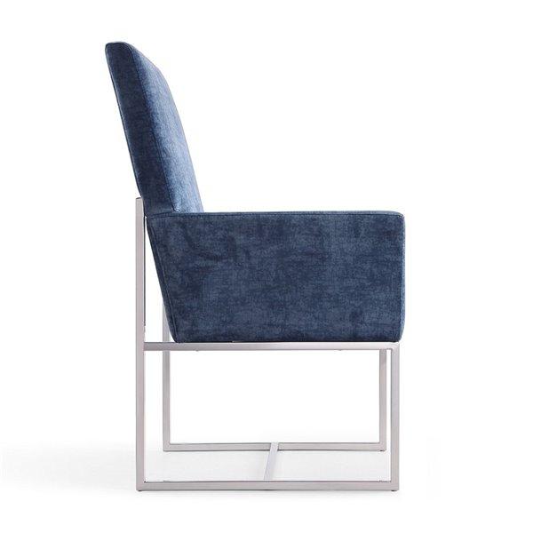 Fauteuil contemporain Element rembourré en velours avec cadre en métal de Manhattan Comfort