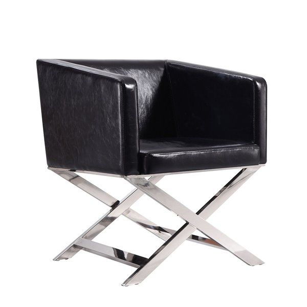 Chaise pivotante Hollywood en chrome poli et similicuir noir de Manhattan Comfort