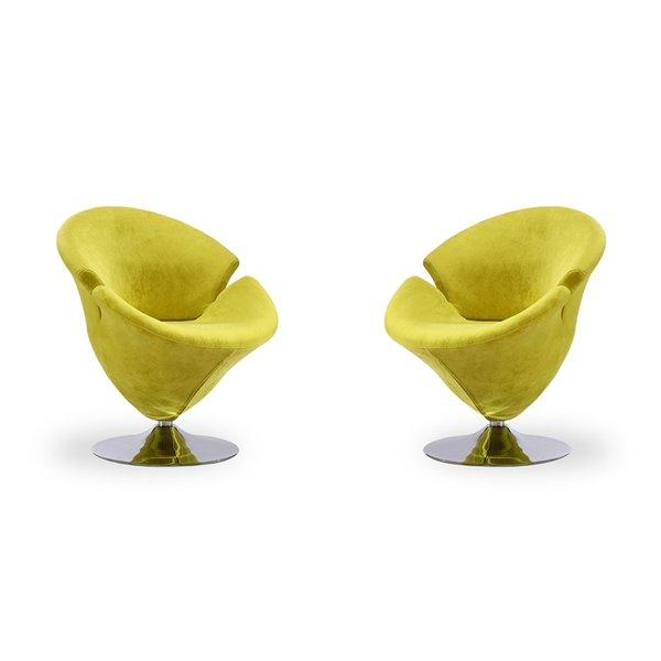 Ensemble de 2 chaises pivotantes moderne en chrome poli Tulip en velours vert de Manhattan Comfort