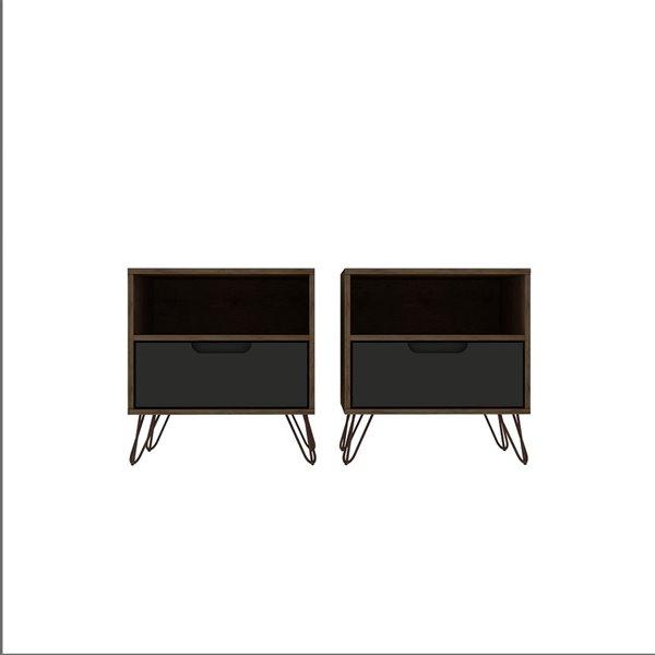 Ensemble de 2 tables de chevet Rockefeller de Manhattan Comfort nature et gris texturé