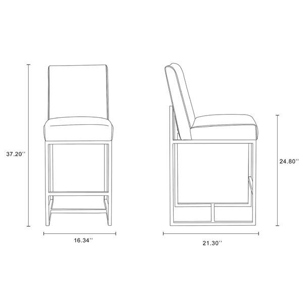 Tabouret de bar rembourré Element camel et chrome poli, hauteur de comptoir (22 po à 26 po) par Manhattan Comfort, 2 pièces