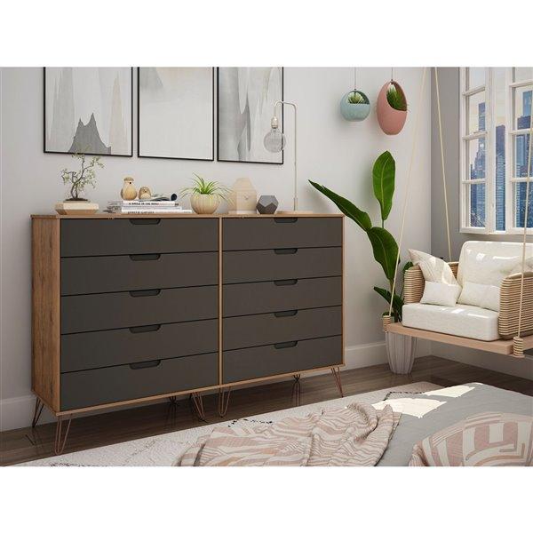 Commode double Rockefeller en naturel et en gris texturé à 10 tiroirs par Manhattan Comfort