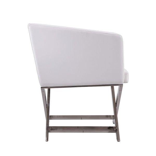 Chaise pivotante Hollywood en chrome poli et similicuir blanc de Manhattan Comfort