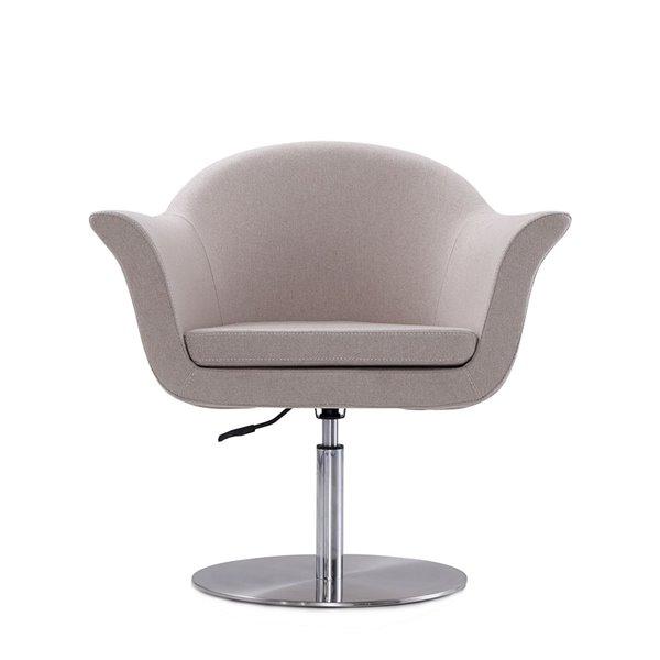 Chaise pivotante moderne Voyager beige et métal brossé de Manhattan Comfort