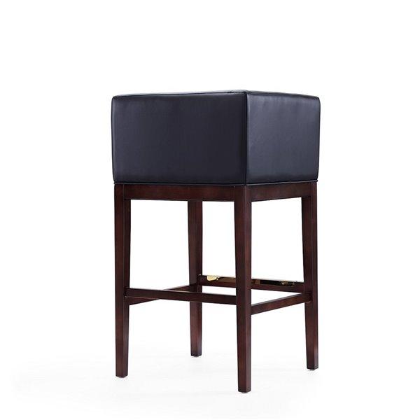 Tabouret de bar rembourré Kingsley noir et noyer foncé à hauteur de bar (27 po à 35 po) par Manhattan Comfort