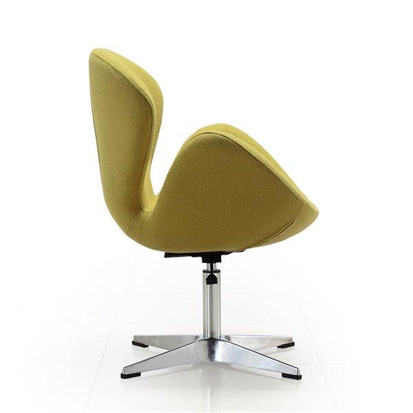 Ensemble de 2 chaises pivotantes Rasberry moderne en laine verte et chrome poli de Manhattan Comfort