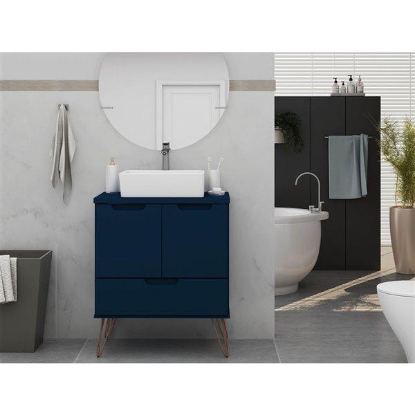 Meuble-lavabo simple Tatiana coloris bleu-nuit de 26,38 pouces Rockefeller par Manhattan Comfort avec comptoir en bois