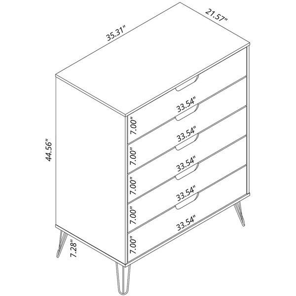 Commodes Rockefeller en naturel et gris texturé à 7 tiroirs par Manhattan Comfort, ens. de 2