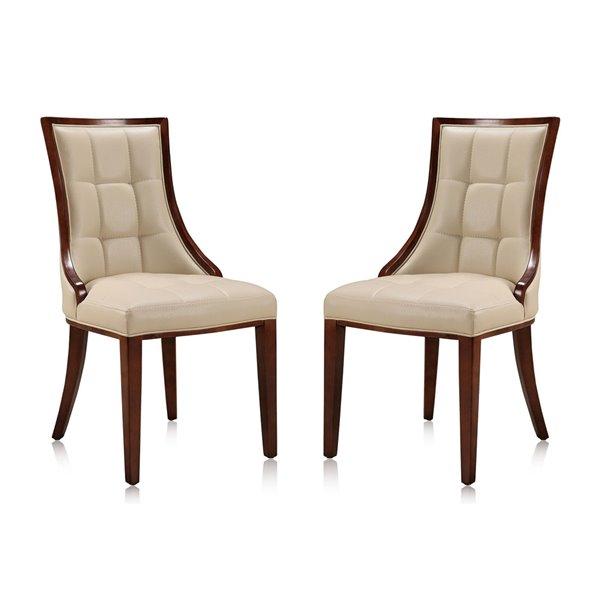 Chaise d'appoint traditionnelle Fifth Avenue rembourrée en similicuir (cadre en bois) par Manhattan Comfort, ens. de 2