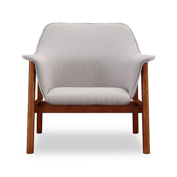 Chaise pivotante Miller en lin gris et noyer de Manhattan Comfort