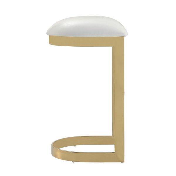 Tabouret de bar rembourré Aura laiton blanc et poli à hauteur de bar (27 po à 35 po) par Manhattan Comfort, 3 pièces