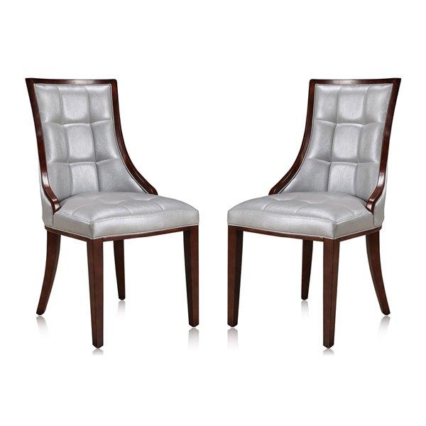 Chaise d'appoint traditionnelle Fifth Avenue rembourrée en similicuir (cadre en bois) de Manhattan Comfort, ens. de 2