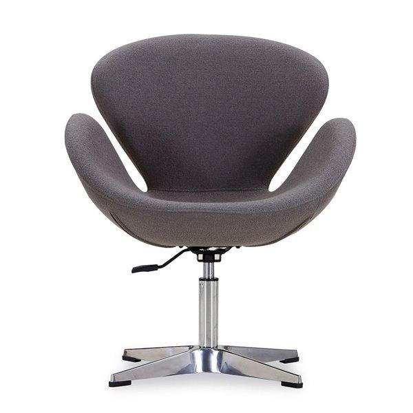 Ensemble de 2 chaises pivotantes Rasberry moderne en laine grise et chrome poli de Manhattan Comfort