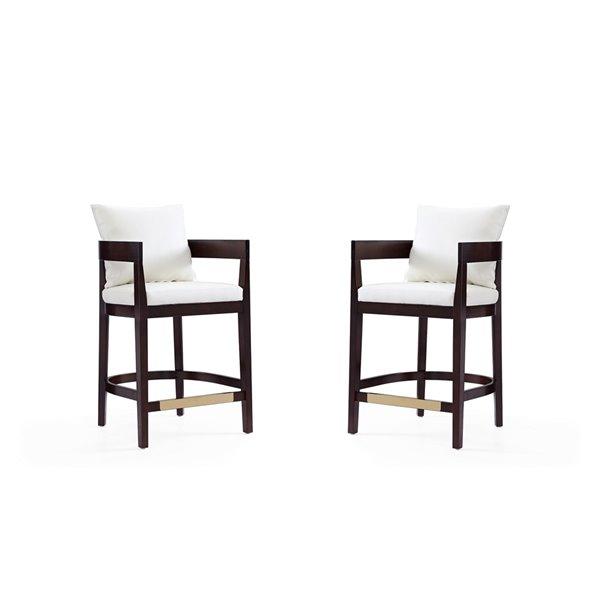 Tabouret de bar rembourré Ritz ivoire et noyer foncé, hauteur de comptoir (22 po à 26 po) par Manhattan Comfort, 2 pièces