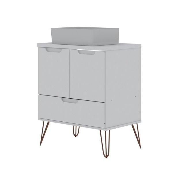 Meuble-lavabo simple blanc de 26,38 pouces Rockefeller par Manhattan Comfort avec comptoir en bois