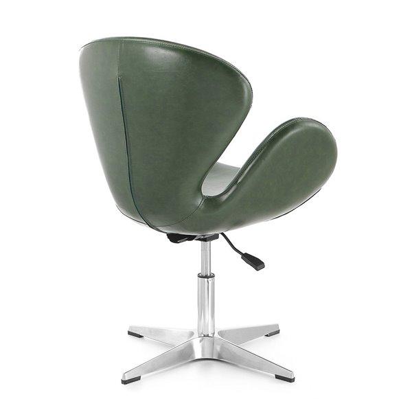 Chaise pivotante Rasberry moderne en chrome poli et similicuir vert forêt de Manhattan Comfort