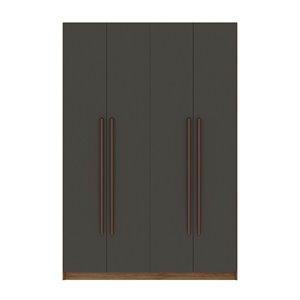 Vestiaire-penderie à 4 portes de 55,2po Gramercy par Comfort Mulberry, naturel/gris texturé
