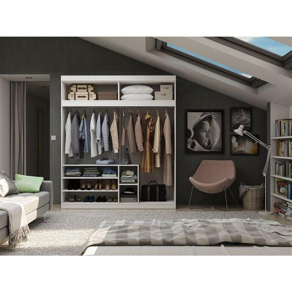Vestiaire-penderie ouvert de 81,3po Mulberry par Manhattan Comfort, blanc
