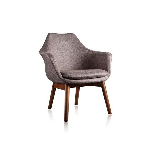 Chaise pivotante Cronkite en tissu croisé noyer et gris de Manhattan Comfort