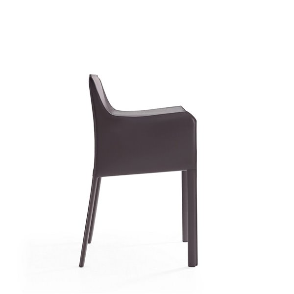 Fauteuil contemporain Paris rembourré en cuir véritable (cadre en métal) par Manhattan Comfort, ens. de 2