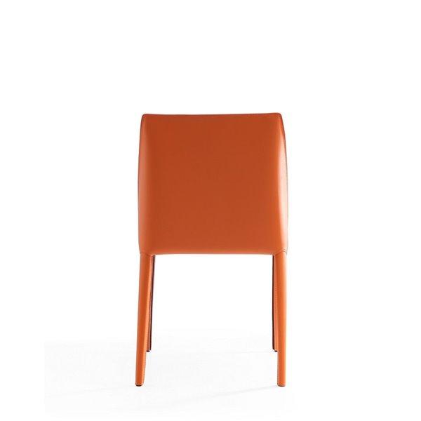 Chaise d'appoint contemporaine Paris rembourrée en cuir véritable (cadre en métal) par Manhattan Comfort, ens. de 4