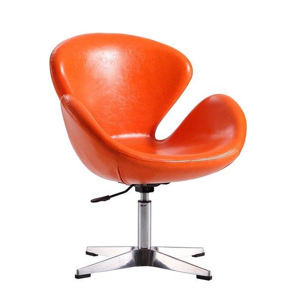 Chaise pivotante Rasberry moderne en chrome poli et similicuir tangerine de Manhattan Comfort
