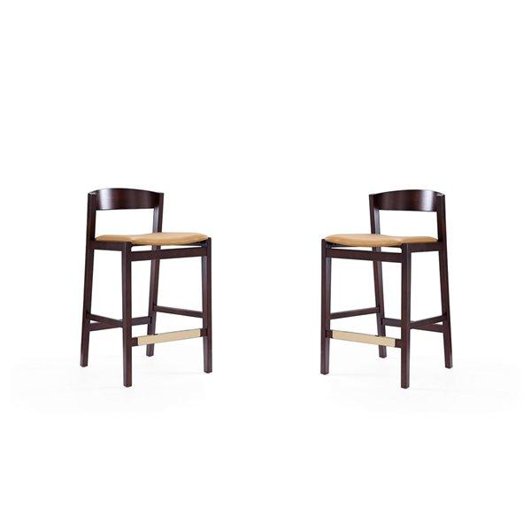 Tabouret de bar rembourré Klismos camel et noyer foncé, hauteur de comptoir (22 po à 26 po) par Manhattan Comfort, 2 pièces